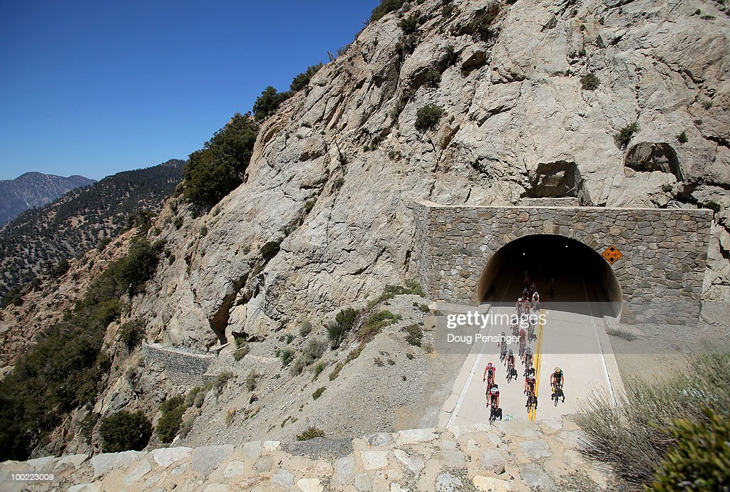The peloton passes through tunnels on the Angeles Crest Highway as they ride through the Los Angeles National Forest during Stage Six of the 2010 Tour of California from Palmdale to Big Bear on May 21, 2010 in Los Angeles County, California.