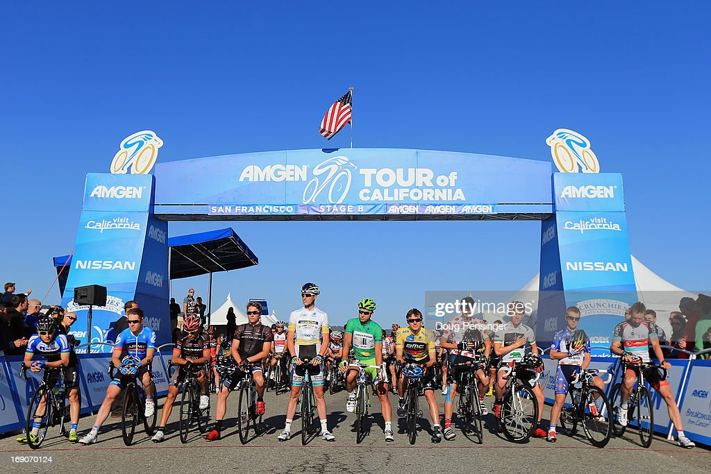 The peloton prepares for the start of Stage Eight of the 2013 Amgen Tour of California from San Francisco to Santa Rosa on May 19, 2013 in San Francisco, California.