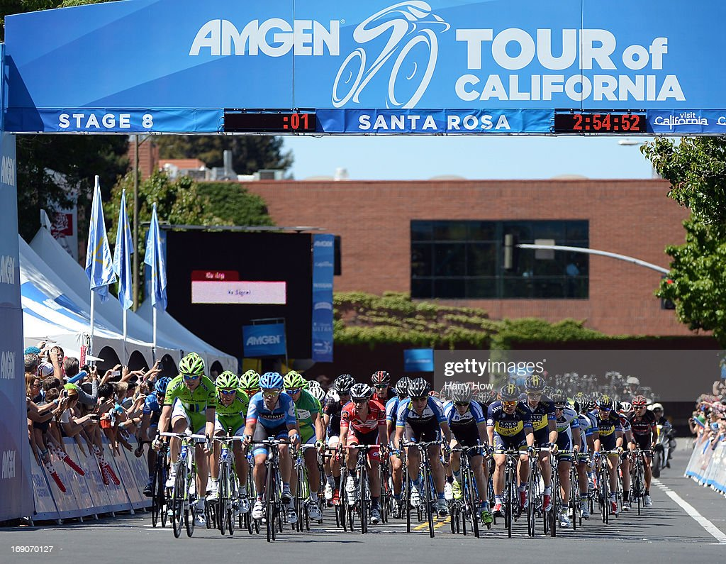 The peloton race with one lap remaining during Stage 8 of the Tour California on May 19, 2013 in Santa Rosa, California.
