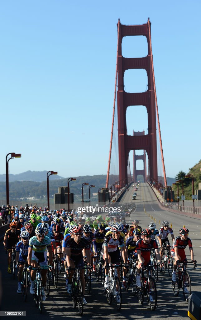 The peloton races over the Golden Gate Bridge during Stage Eight of the Amgen Tour of California on May 19, 2013 in San Francisco, California.