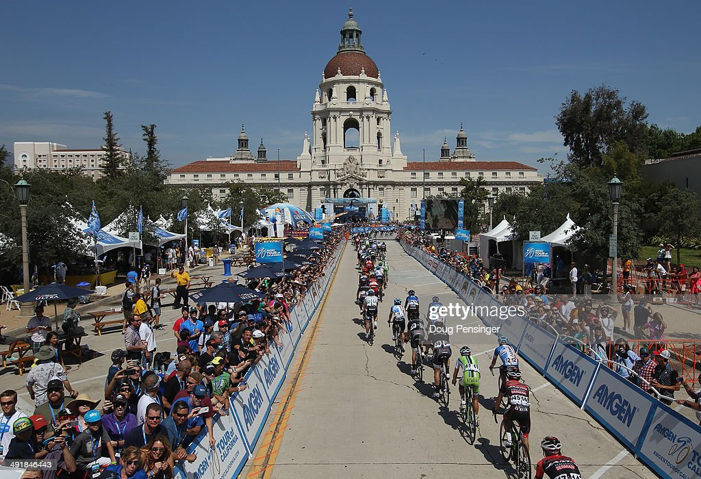 The peloton races toward Pasadena City Hall during stage seven of the 2014 Amgen Tour of California from Santa Clarita to Pasadena on May 17, 2014 in Pasadena, California.