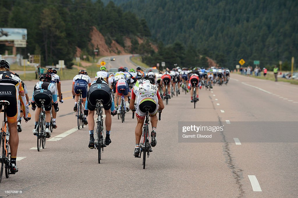 The peloton races towards town during Stage Five of the USA Pro Challenge from Breckenridge to Colorado Springs on August 24, 2012 in Colorado Springs, Colorado.