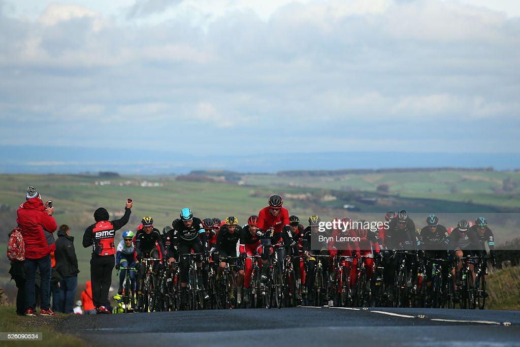 The peloton reach the top of Cote de Greenhow Hill during stage one of the 2016 Tour de Yorkshire from Beverley to Settle on April 29, 2016 in Settle, England.