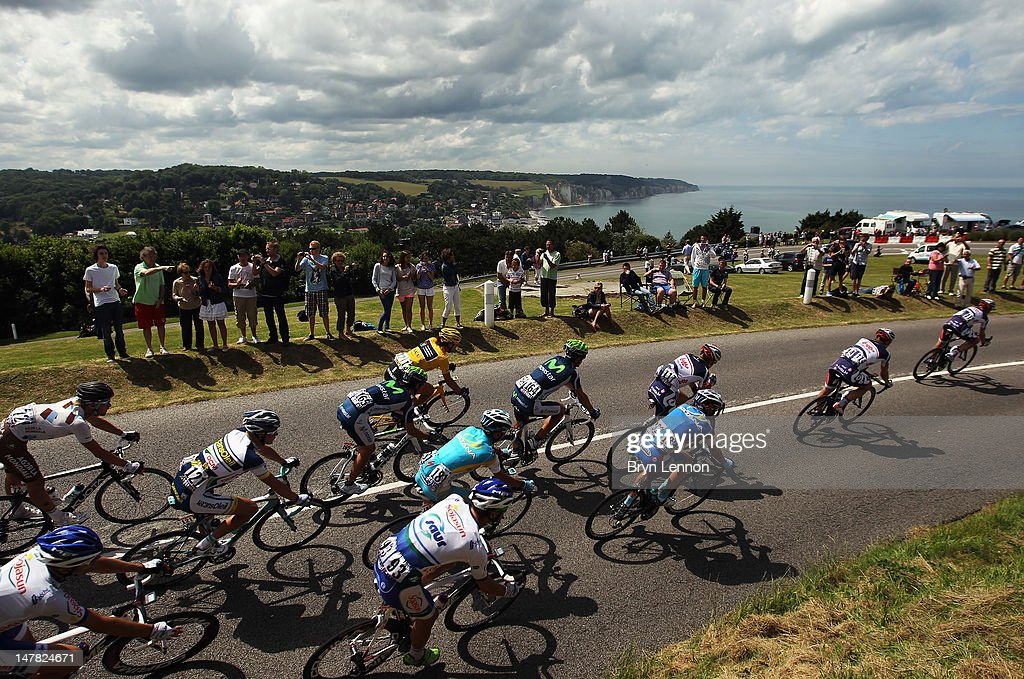 The peloton ride along the Coast during stage four of the 2012 Tour de France from Abbeville to Rouen on July 4, 2012 in Dieppe, France.
