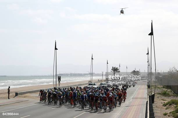 The peloton ride along the coast during stage six of the 8th Tour of Oman a 1305km road stage from The Wave Muscat to Matrah Corniche on February 19...