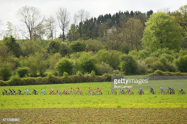 The Peloton ride during the 101st LiegeBastogneLiege cycle road race on April 26 2015 in Liege Belgium