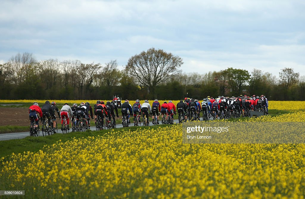 The peloton ride during the first stage of the 2016 Tour de Yorkshire from Beverley to Settle on April 29, 2016 in Settle, England.