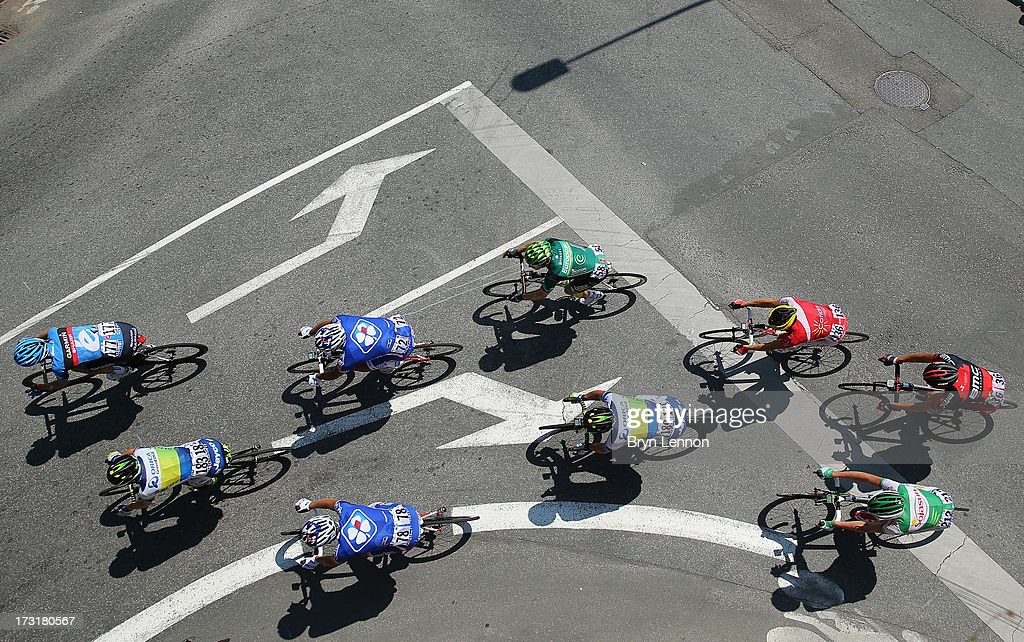 The peloton ride on stage ten of the 2013 Tour de France, a 197KM road stage from St-Gildas-des-Bois to Saint Malo, on July 9, 2013 in St Malo, France.