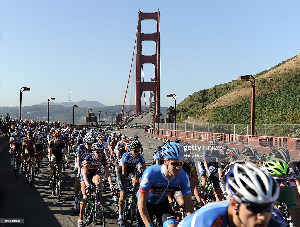 The peloton ride over the Golden Gate Bridge during Stage 8 of the Tour California on May 19, 2013 in Saulsalito, California.