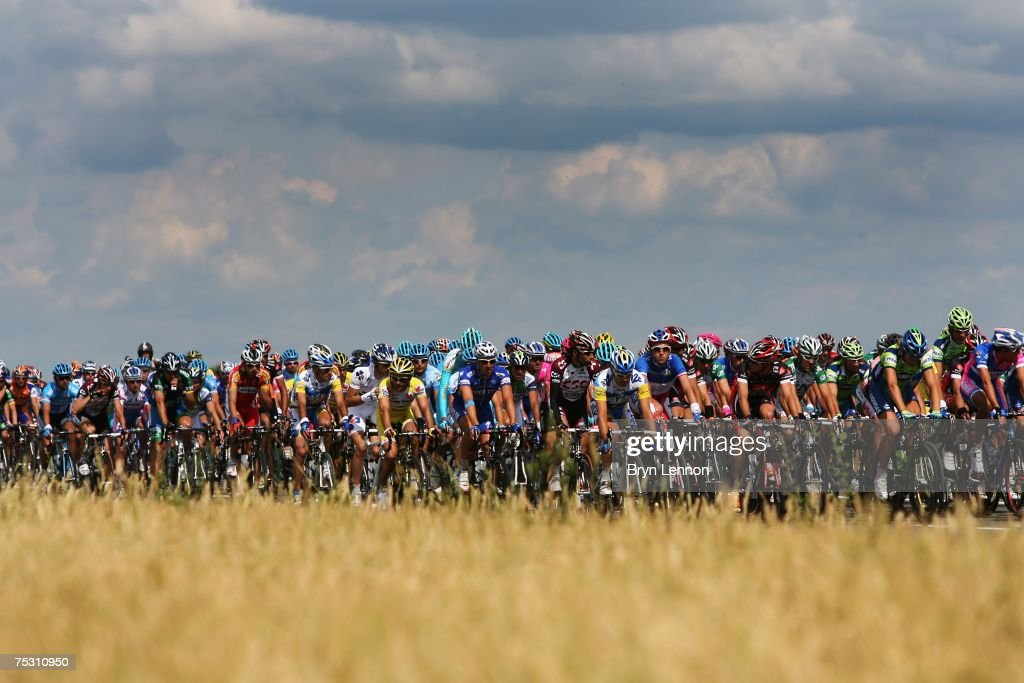 The Peloton ride through the Belgian countryside during stage 3 of the 2007 Tour de France from Waregem to Compiegne on July 10 2007 in Waregem...