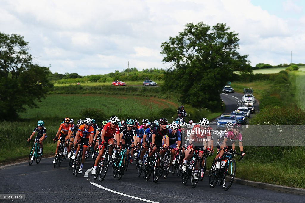 The peloton ride through the British countryside during the Women's 2016 National Road Championships on June 26, 2016 in Stockton-on-Tees, England.