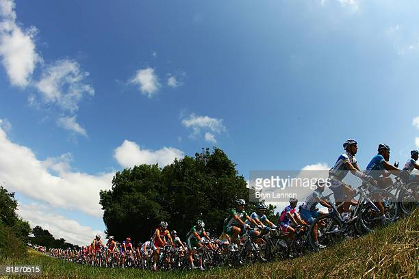 The peloton ride through the French countryside during stage five of the 2008 Tour de France from Cholet to Chateauroux on July 9 2008 in Cholet...