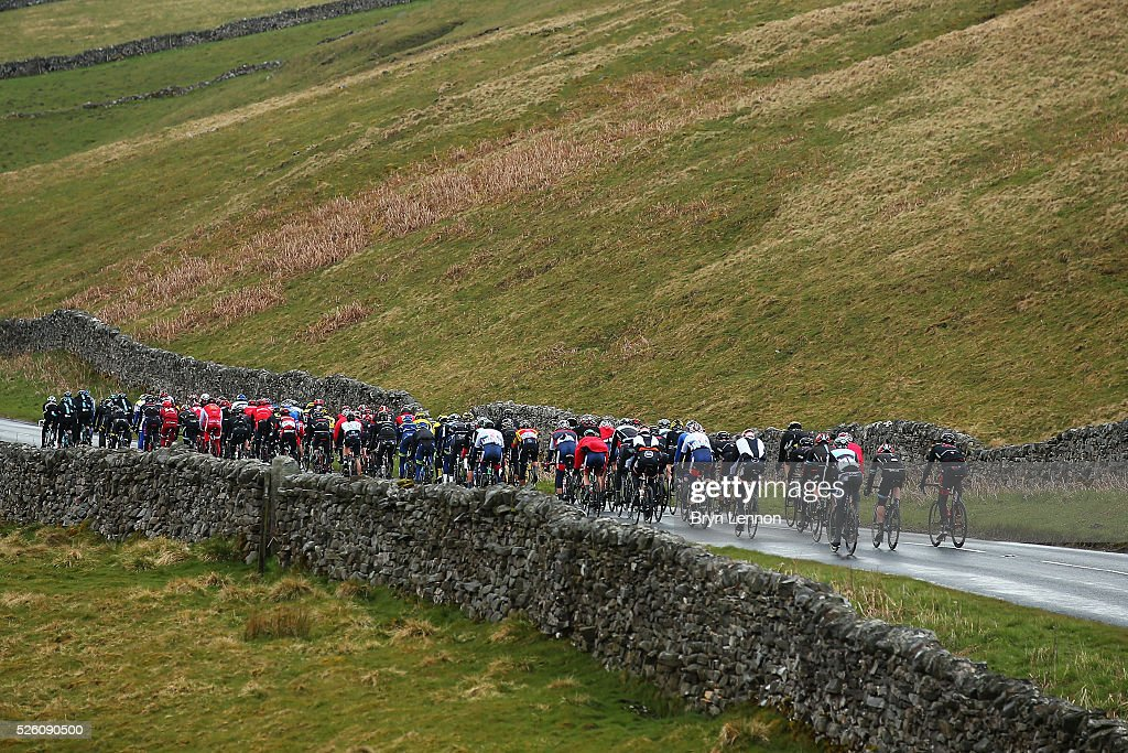 The peloton ride through the Yorkshire lanes during stage one of the 2016 Tour de Yorkshire from Beverley to Settle on April 29, 2016 in Settle, England.