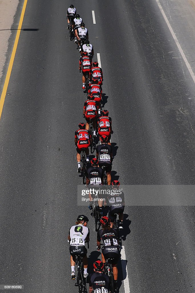 The peloton ride up a Qatar highway during stage two of the 2016 Tour of Qatar from Qatar University to Qatar Univeristy on February 9, 2016 in Doha, Qatar. The stage also serves as a test event for the World Road Race Championships which will be held in Doha in October.