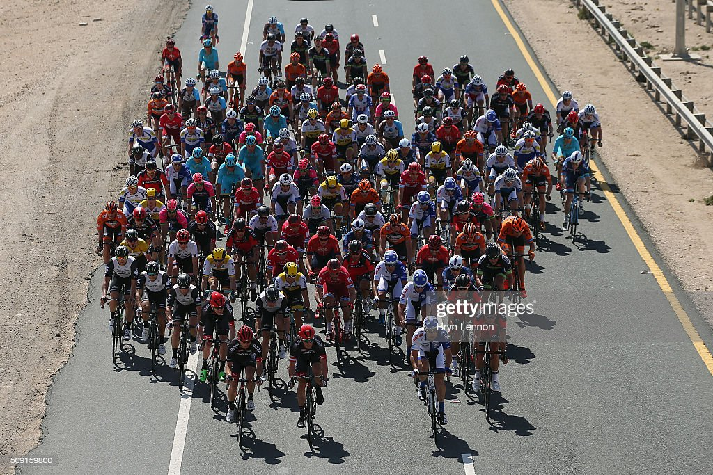 The peloton ride up the Qatar highway during stage two of the 2016 Tour of Qatar from Qatar University to Qatar Univeristy on February 9, 2016 in Doha, Qatar. The stage also serves as a test event for the World Road Race Championships which will be held in Doha in October.