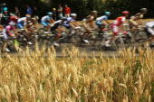 The peloton rides along the 2275km route from Montargis to Gueugnon in stage six of the Tour de France July 9 2010 in Gueugnon France The last stage...