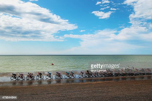 The peloton rides along the North Sea coast during stage two of the 2015 Tour de France a 166km stage between Utrecht and Zelande on July 5 2015 in...