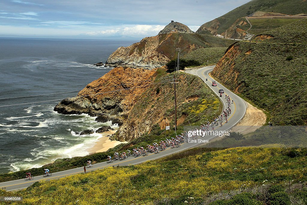 The peloton rides along the Pacific Coast during stage 3 of the Tour of California on May 18, 2010 in Montara, California on their way to the finish line in Santa Cruz, California.