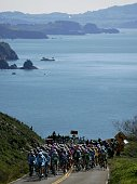 The peloton rides along the pacific coast on US Highway 1 during Stage 1 of the AMGEN Tour of California on February 20 2006 from Sausalito to Santa...
