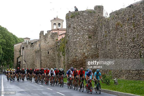 The peloton rides by the Chieti walls' ruins during the 7th stage of 99th Giro d'Italia Tour of Italy from Sulmona to Foligno of 211 km on May 13...