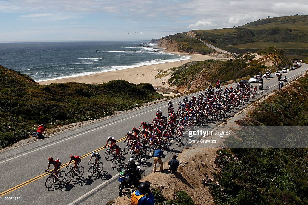 The Peloton rides down Highway 1 along the coast during the third stage of the Tour of California on May 18, 2010 in Davenport, California.