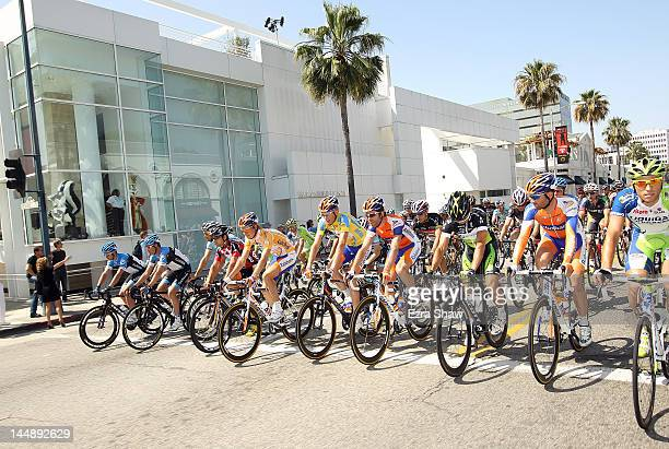 The peloton rides down Santa Monica Boulevard during stage eight of the Amgen Tour of California from Beverly Hills to Los Angeles on May 20 2012 in...