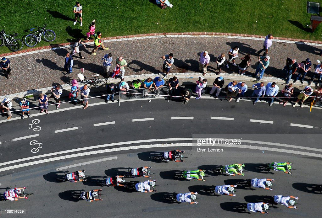 The peloton rides during stage one of the 2013 Giro d'Italia on May 4, 2013 in Naples, Italy.