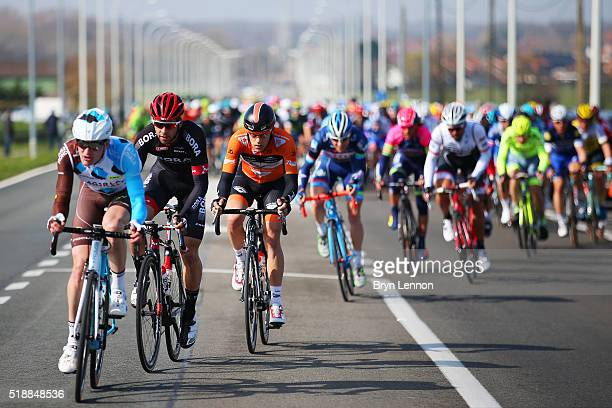 The Peloton rides during the 100th edition of the Tour of Flanders from Bruges to Oudenaarde on April 3 2016 in Bruges Belgium