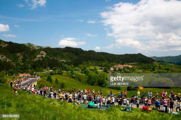 The peloton rides during the 12th stage of the 100th Giro d'Italia Tour of Italy cycling race from Forli to Reggio Emilia of 100th Giro d'Italia Tour...