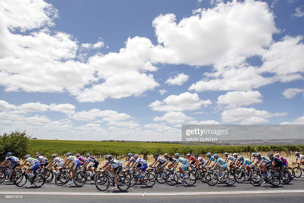 The peloton rides during the 151.5-km stage 5 of the Tour Down Under in Adelaide on January 26, 2013. The six-stage Tour Down Under is taking place from January 20 to 27. AFP PHOTO / Mark Gunter USE