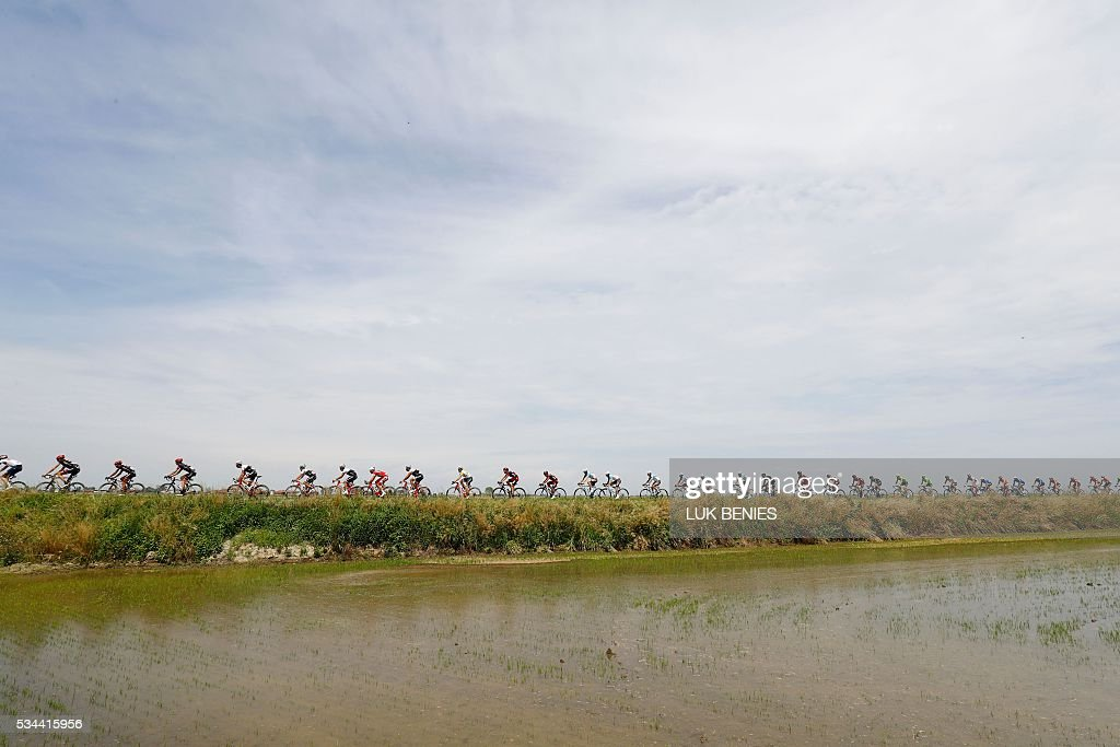 The peloton rides during the 18th stage of the 99th Giro d'Italia, Tour of Italy, from Muggio to Pinerolo on May 26, 2016.