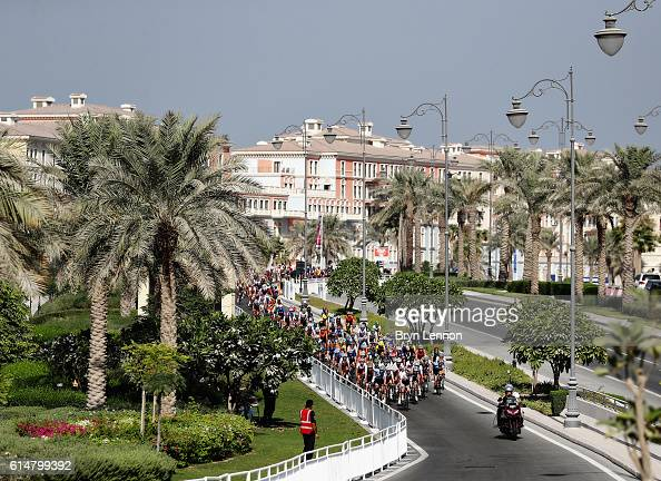 The peloton rides during the Elite Womens Road race on Day Seven of the UCI Road World Championships at The Pearl on October 15 2016 in Doha Qatar