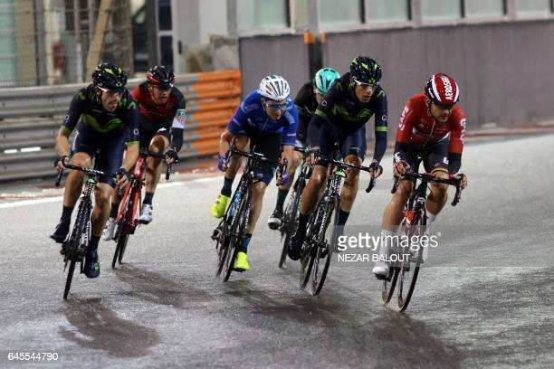 CORRECTION The peloton rides during the fourth stage of the Tour of Abu Dhabi on February 26 2017 / AFP / NEZAR BALOUT / The erroneous mention[s]...