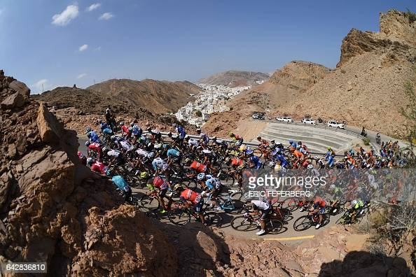 TOPSHOT The peloton rides in alHamriyah climb during the 6th and final stage of the 8th edition of the cycling Tour of Oman between The Wave Muscat...