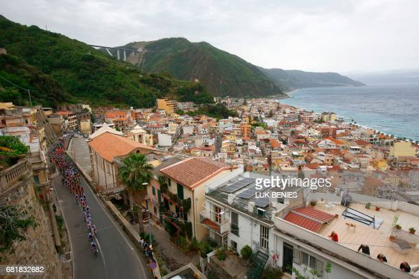 The peloton rides in Bagnara Calabra during the 6th stage of the 100th Giro d'Italia Tour of Italy cycling race from Reggio di Calabria to Terme...