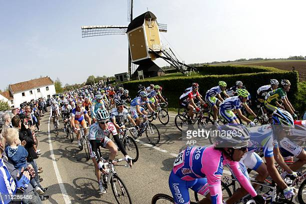 The peloton rides past the St Hubert near Mill Brook on April 17 2011 during the 46th edition of the Amstel Gold Race cycling event AFP PHOTO / ANP /...