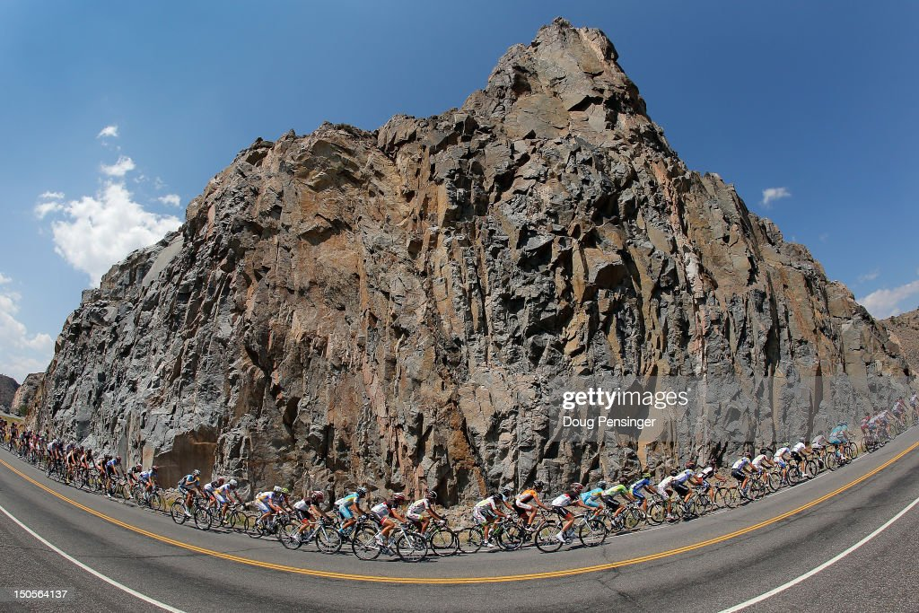 The peloton rides through a canyon during stage two of the USA Pro Challenge from Montrose to Crested Butte on August 21, 2012 in Gunnison, Colorado.
