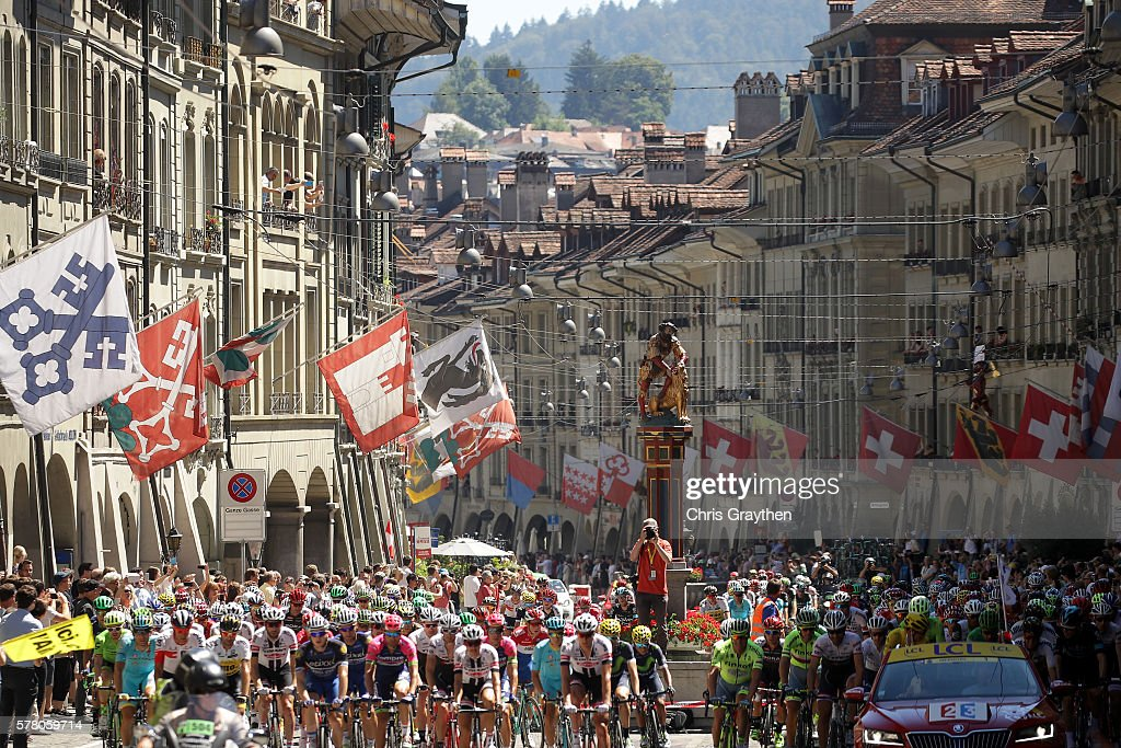 The peloton rides through downtown during stage seventeen of the 2016 Le Tour de France, a 184.5km stage from Berne to Finhaut-Emosson on July 20, 2016 in Bern, Switzerland.