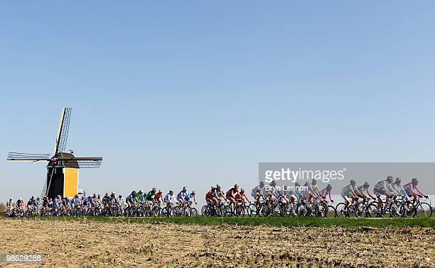 The peloton rides through Dutch countryside during the Amstel Gold Race on April 18 2010 in Maastricht Netherlands
