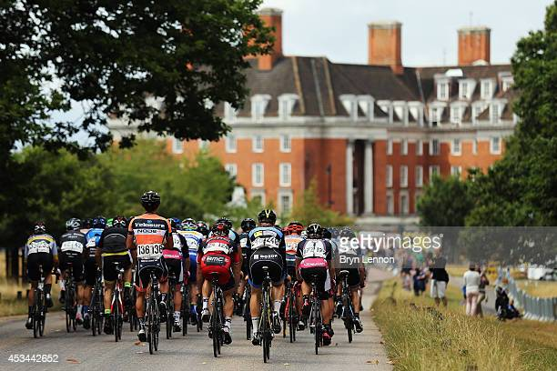 The peloton rides through Richmond Park during the Prudential RideLondonSurrey Classic from the Queen Elizabeth Olympic Park to The Mall on August 10...