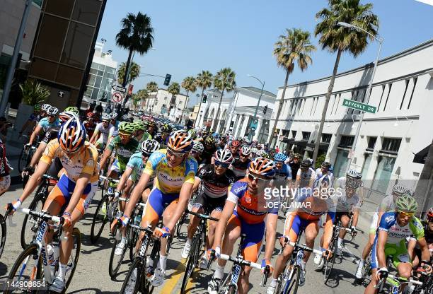 The peloton rides through Santa Monica Boulevard during the final stage of the Amgen Tour of California from Beverly Hills to Los Angeles on May 20...