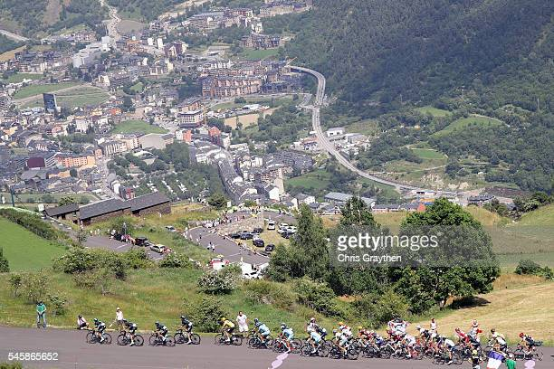 The peloton rides through the Andorra Countryside during stage nine of the 2016 Le Tour de France a 1845km stage from Vielha Val d'Aran to Andorre...