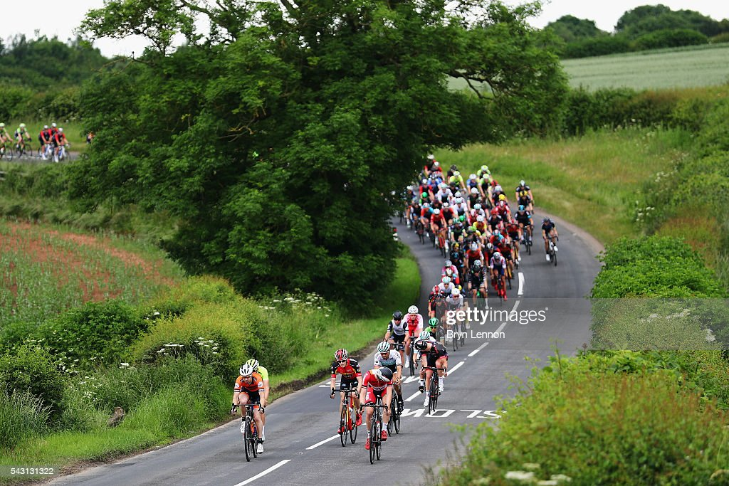 The peloton rides through the British countryside during the Elite Men's 2016 National Road Championships on June 26, 2016 in Stockton-on-Tees, England.