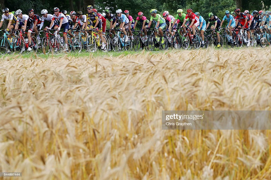 The peloton rides through the country side during stage three of the 2016 Le Tour de France a 223.5km stage from Granville to Angers on July 4, 2016 in Granville, France.