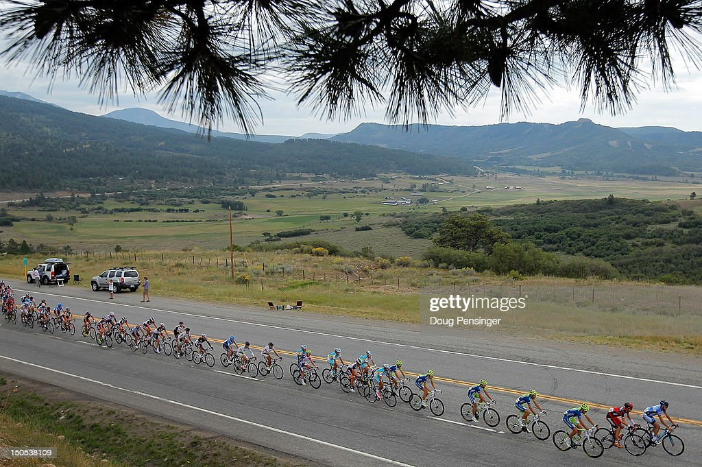 The peloton rides through the countryside during stage one of the USA Pro Challenge from Durango to Telluride on August 20, 2012 in Montezuma County, Colorado.