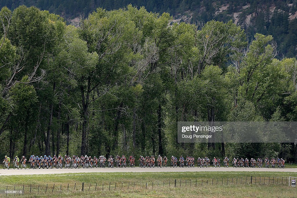 The peloton rides through the countryside during stage one of the USA Pro Challenge from Durango to Telluride on August 20, 2012 in Dolores County, Colorado.