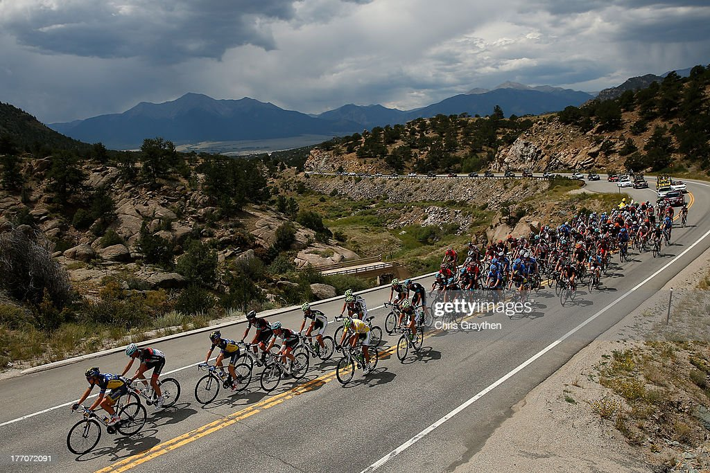 The peloton rides through the countryside during stage two of the 2013 USA Pro Cycling Challenge on August 20, 2013 in Breckenridge, Colorado.