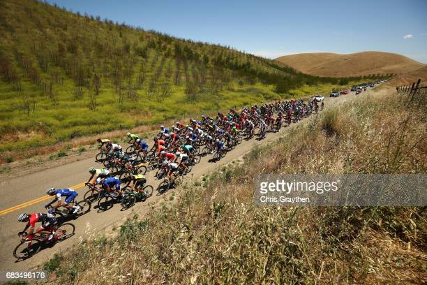 The peloton rides through the countryside during stage two of the AMGEN Tour of California from Modesto to San Jose on May 15 2017 in Modesto...