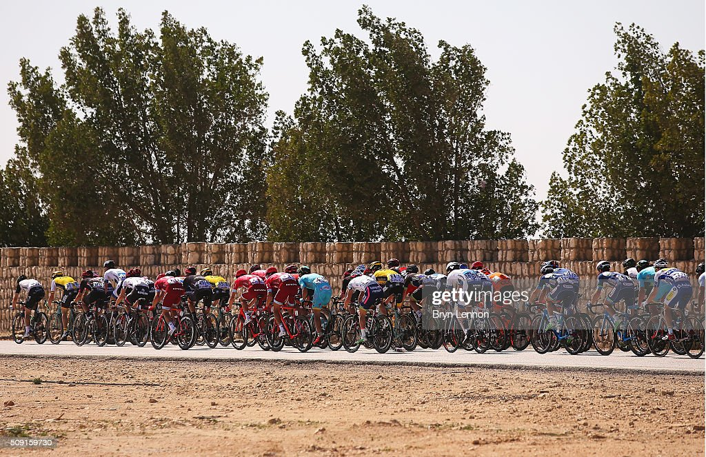 The peloton rides through the desert during stage two of the 2016 Tour of Qatar from Qatar University to Qatar Univeristy on February 9, 2016 in Doha, Qatar. The stage also serves as a test event for the World Road Race Championships which will be held in Doha in October.