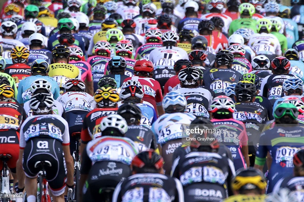The peloton rides through the french countryside during stage eleven of the 2016 Le Tour de France a 162.5km stage from Carcassonne to Montpellier on July 13, 2016 in Montpellier, France.